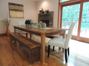 Traditional Dining Room by Goshen Home Stagers Claudia Jacobs Designs LLC This set is for Sale Details of Tables & Benches: After The Barn made from 143-year-old Hemlock Barn wood from Pennsylvania. 40″ x 96″Hemlock table $2400. Bench $450. Set includes 2 benches $3000