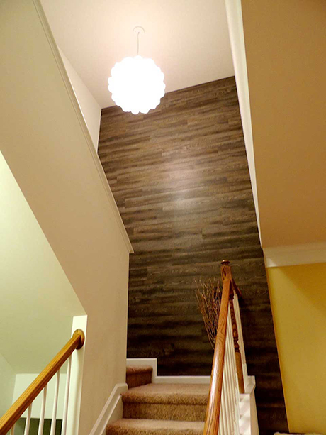 accent wall made from vinyl flooring  fabulous
