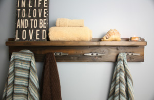 Coat rack with shelf and antiqued boat cleat hooks by Blissopia.