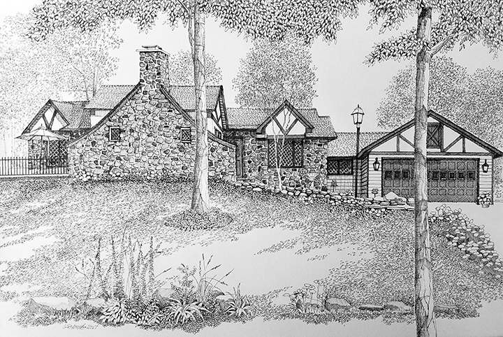 Pen and ink  house & street scenes.  Photo Credit: Artist Bruce Young