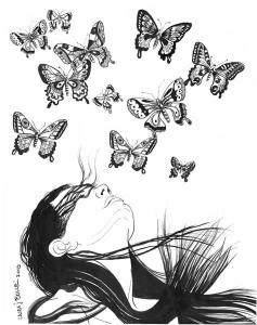 Drawing created by Laura Bolle of a woman looking up with 11 butterflies of different sizes