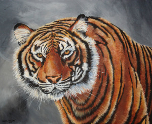 Painting by Laura Bolle of a tiger with a grey and white background