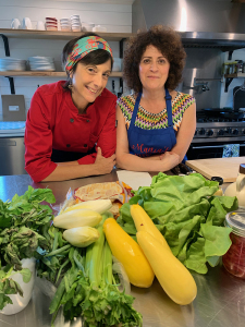Chef Cathy Vogt in the kitchen of Watergrasshill Bed and Breakfast with assistant for the class, Linda Johnston, at the Summer Taco Party cooking class