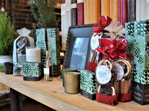 Newburgh Mercantile's sampling of gifts for the home, Display of candles and other nik nacks