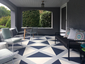 Julia Whitney Barnes White House Porch Painting on the floor. Geometric Pattern