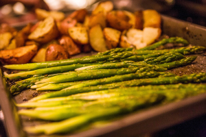 Asparagus and potatoes on a sheet pan