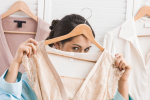 Women with close on a hanger