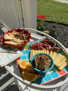 A few munchies on a tray for happy hour social distancing on the porch.