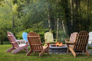 Adirondack Chairs around a camp fire