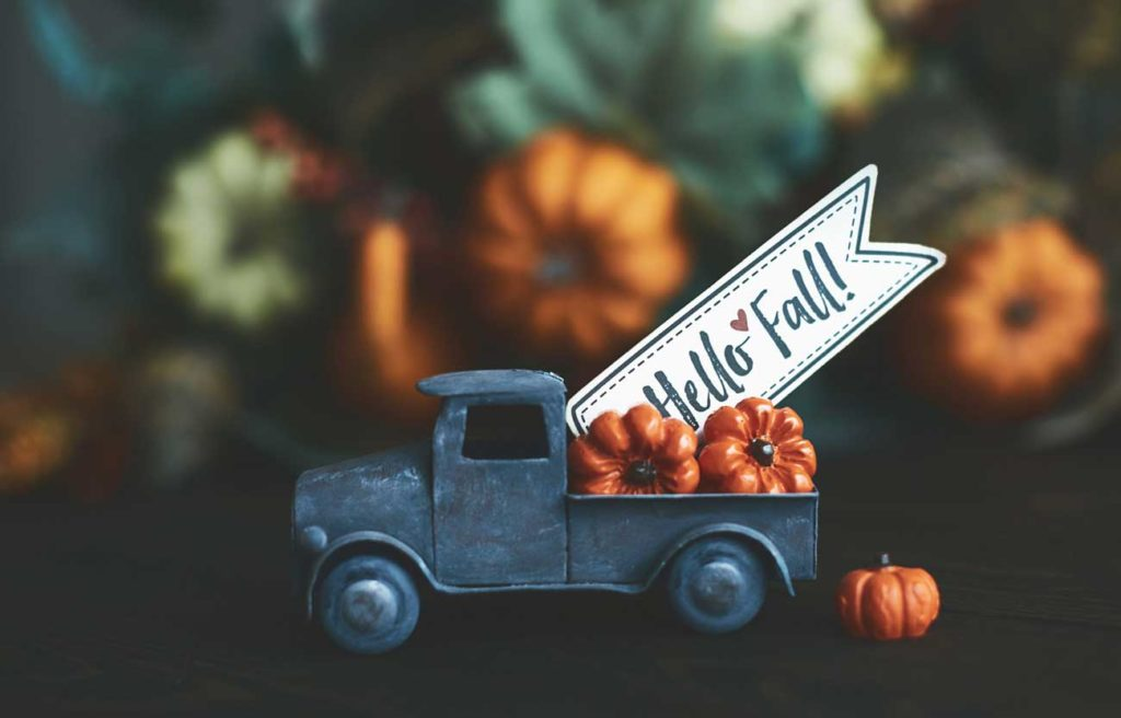 old truck toy with hello fall in the back